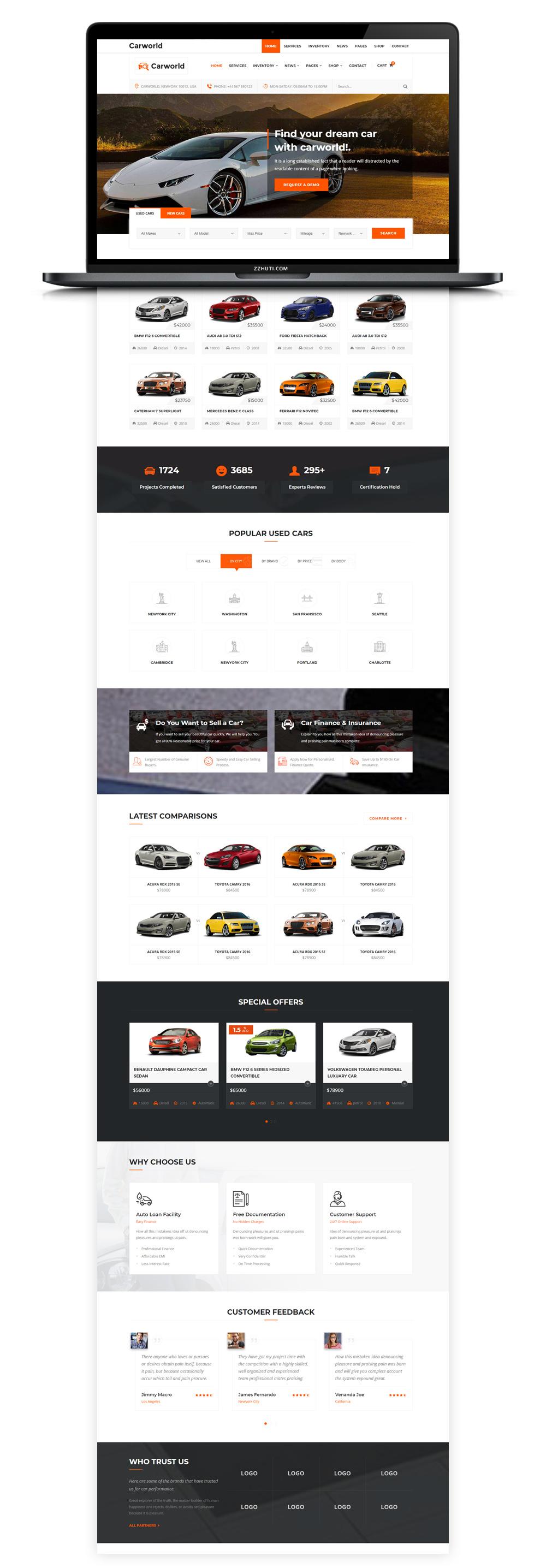 【汽车HTML网页】橙色大气Bootstrap响应式汽车销售4S店网站模板-找主题源码