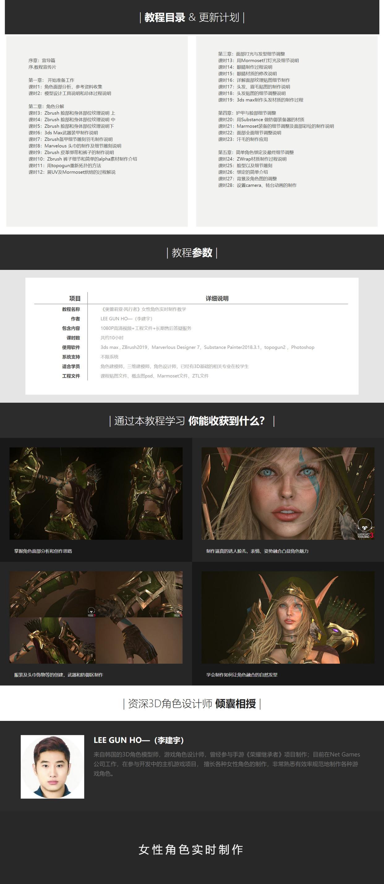 【奥蕾莉亚·风行者】女性角色实时制作教学【年终第一辑】3dsMax ZBrush 3D角色建模雕刻渲染-找主题源码