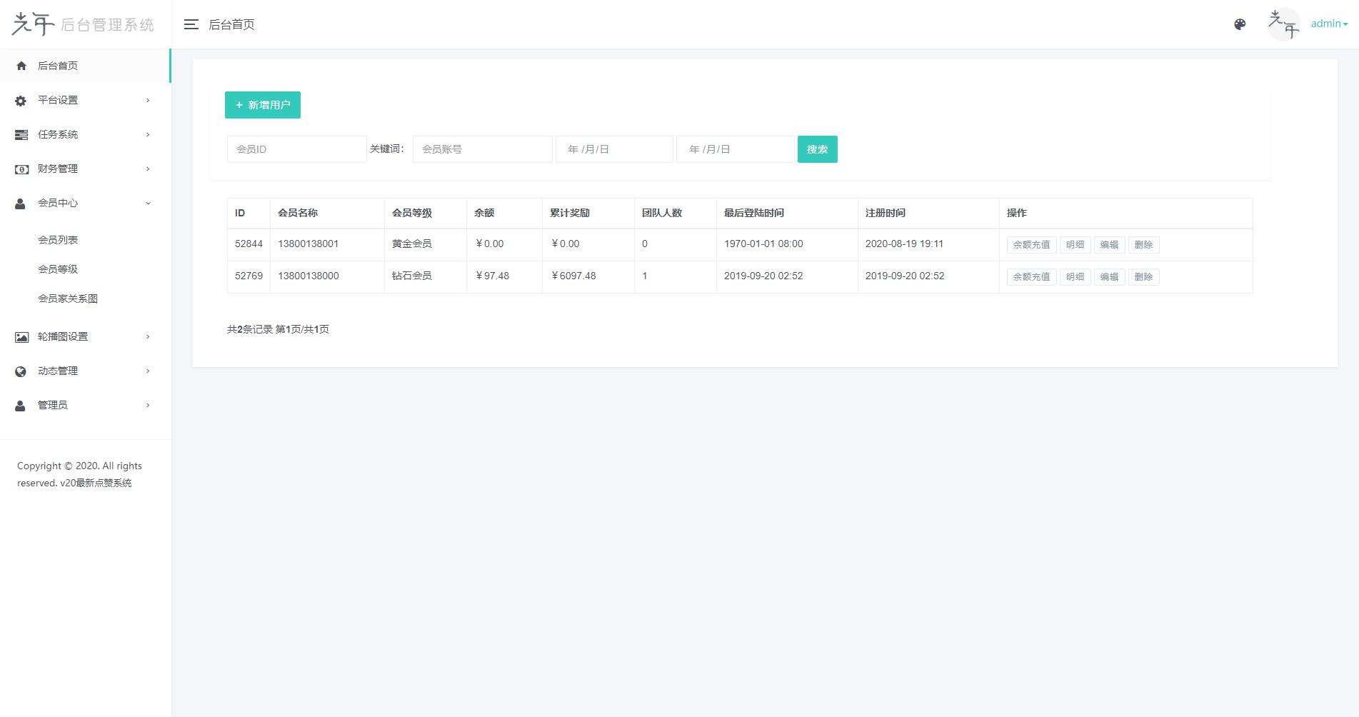 【点赞系统】全新蓝色UI+后台模板[无加密+已清后门]-找主题源码